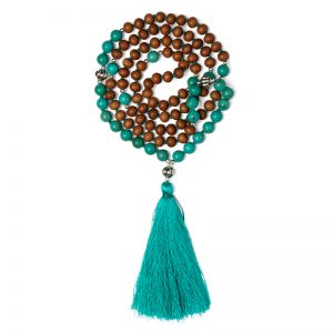 Turquoise And Sandalwood Mala