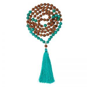 Truth Mala – Turquoise Rudraksha