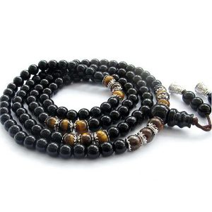 Tiger Eye And Black Stone Japamala