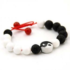 Yin Yang Lava Bead Prayer Bracelet