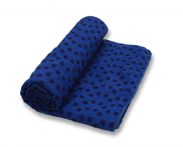 anchor yoga non skid towel with free carry bag - blue