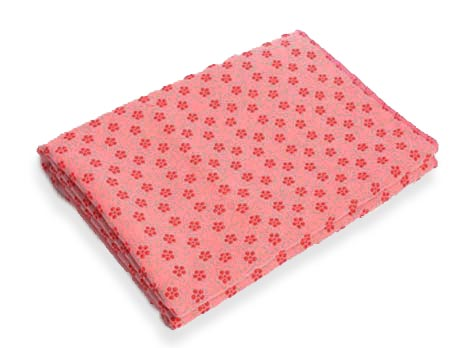 anchor yoga non skid towel with free carry bag - pink