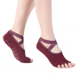 Anti Skid Yoga Socks – Peep Toe Burgundy