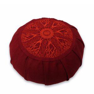 Round Meditation Zafu – Burgundy Fire Mandala