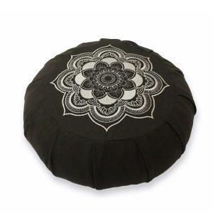 Round Meditation Zafu – Grey Mandala