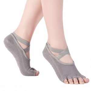 Anti Skid Yoga Socks – Peep Toe Grey