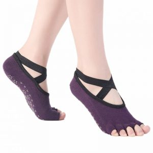 Anti Skid Yoga Socks – Peep Toe Purple