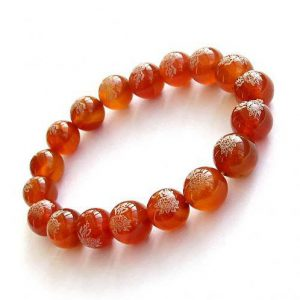 Red Agate Lotus Buddhist Prayer Bracelet