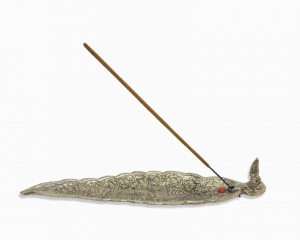 silver leaf incense holder