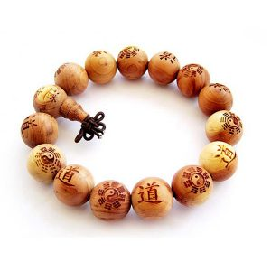 Tai Ji Buddhist Wood Carved Prayer Bracelet