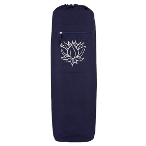 Yoga Mat Bag Navy – Lotus Outline