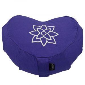 Crescent Meditation Cushion – Violet Mandala Outline