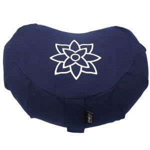 Crescent Meditation Cushion – Navy Mandala Outline